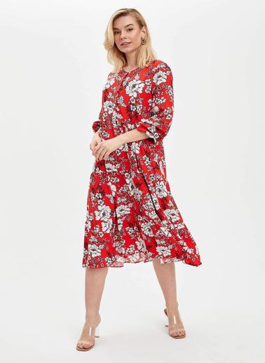 DeFacto Kolları Lastikli Dokuma Elbise Kırmızı